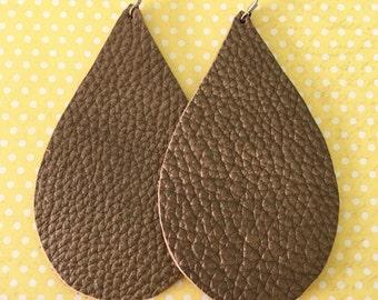 Leather Earrings Teardrop Dark Bronze Shimmer