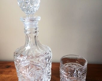 Gorgeous Crystal Decanter With Matching Glass, Scotch Whisky.