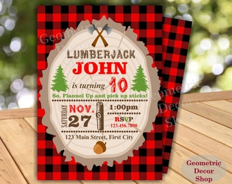 Lumberjack Birthday Party Invite Birthday Wilderness Red Buffalo Plaid Lumber Jack Invitation Rustic Red Plaid Photo Photograph 1st BDLJ1 b