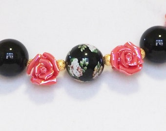 Black Onyx, Ceramic Flowers and Black Flowered Bead necklace and Earrings (267)