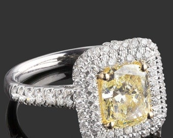 Cushion Diamond Engagement, 2.49 TCW, Cushion Cut Diamond, Natural Fancy Yellow Diamond, Double Halo, Diamond Engagement 18k White Gold Ring