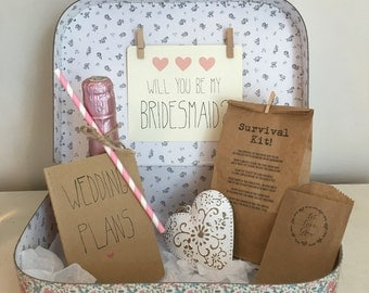 Will You Be My Bridesmaid? Vintage Style Suitcase Gift Set