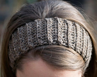 Wool Headband - Brown Winter Ear Warmer with Optional Satin Lining - Natural Hair Accessory - Ready to Ship