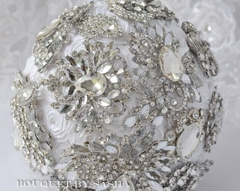 White wedding brooch bouquet, Rhinestone brooch bouquet, Bridal bouquet, Crystal silver brooch bouquet, Luxury bouquet, Bridesmaid bouquet.