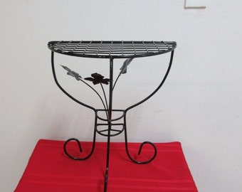 Vintage Petite Iron Outdoor Patio Lamp End Table