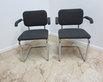 Pair of Knoll Arm Chrome Cantilever Arm Chairs