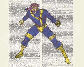 Marvel Comics X-Men Cyclops on dictionary page print