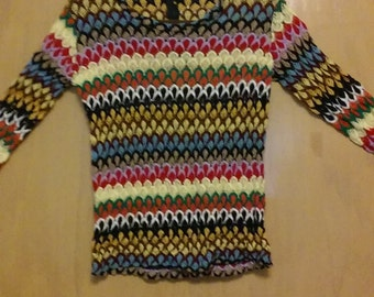 Clearance was 20 now 15.  60s/70s Psychedelic/Psychadelic Multicolored Geometric Knit Top