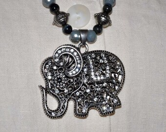 Elephant Necklace, Beaded Elephant, Silver Rhinestone Jewelry, Black Beaded Necklace, Silver Necklace, Silver Toggle Clasp, Elephant Jewelry