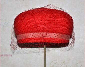 Vintage Coral Hat, Vintage Straw Hat, Audrey Hepburn Hat, Coral Straw Hat, Vintage Bubble Hat, 50's Straw Hat, Coral Bubble Hat