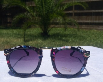 Geomtric Sunglasses-Floral