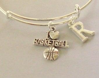 I Love BASKETBALL Bangle  / Bracelet   Charm Bracelet W/ INITIAL Under Twenty  Sports Bracelet  Gift  For Her Usa   SP1
