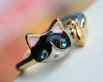 Adjustable cute kitty ring