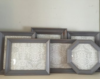 Set of 6 Gray Cottage Chic Picture Frames
