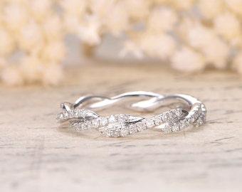Twist Unique Wedding Ring,Diamond Wedding Band,Full Eternity,Anniversary Ring,14K White Gold,Infinity Ring,Matching Band,Bridal Ring