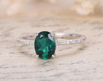 Emerald Engagement Wedding Ring, 14K White Gold, 7x9mm Oval Green Emerald,May Birthstone Ring, Emerald Solitaire Ring, Diamond Wedding Band