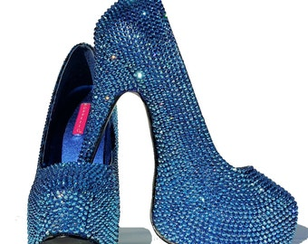 Swarovski shoes-Sparkly High heels-special event shoes-Bling Shoes-Glitter Shoes-Rhinstone Heel Shoes-Evening Shoes-Black Friday