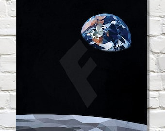 Low Poly Earthrise Moon Poster print. Wall Art. Space poster. NASA art. Geek art.