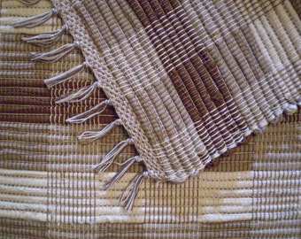 Brown, Tan and White Checkerboard Rag Rug
