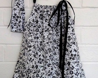 Girls Black and white floral dress with matching Headband