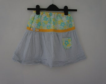 Handmade Upcycled Skirt With Vintage Floral Fabric And Ribbon Trim With Pocket And Button Details, Age 4-6 Years