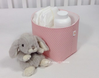 Fabric - pink fabric with stars white basket