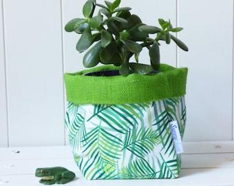 Fabric storage basket, Storage bin, Gift basket, Green, Lime, Hessian, Plant pot holder, Bathroom storage