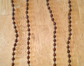 paper bead necklace - brown