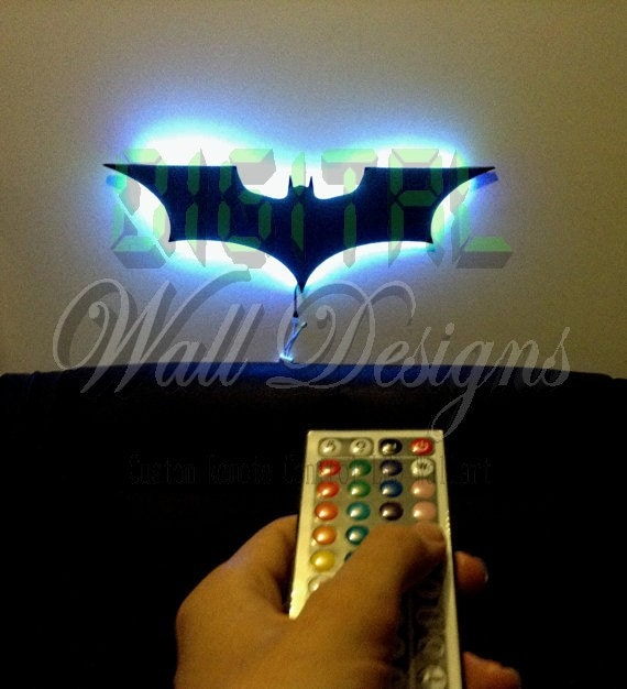 Batman Wall Light Diy : Remote Controlled LED Batman Dark knight by DigitalWallDesigns