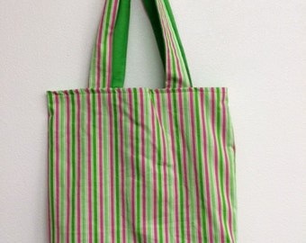 green & pink striped tote bag
