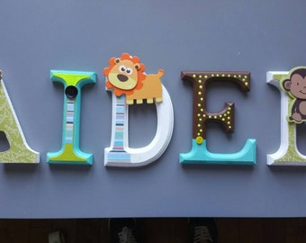 Green and Brown jungle theme custom wooden letters.