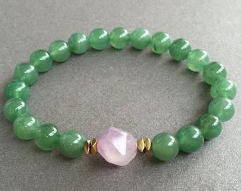 Green Aventurine Bracelet Natural Aventurine Bracelet Healing Bracelet for women Bracelet Yoga Jewelry Green Stone Green Bracelet Amethyst