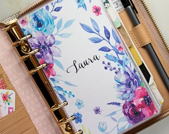 Personalized Bright Floral Watercolor Planner Dashboard