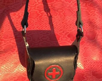 SALE!!! Leather black red cross nurse clutch purse handbag
