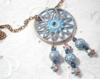 Dreamcatcher necklace copper blue patina , copper necklace bright blue , long copper necklace Dreamcatcher patina blue , turquoise necklace