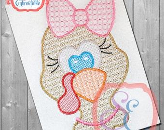 MOTIF Girl TURKEY HEAD Design For Machine Embroidery