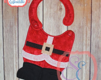 SANTA SUIT Bib - In The Hoop Design For Machine Embroidery