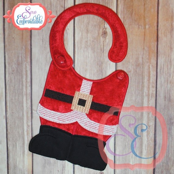 Items similar to santa suit bib in the hoop design for