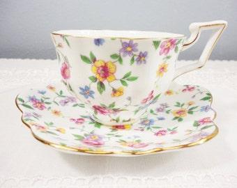 Salisbury Floral Bone China Teacup & Saucer