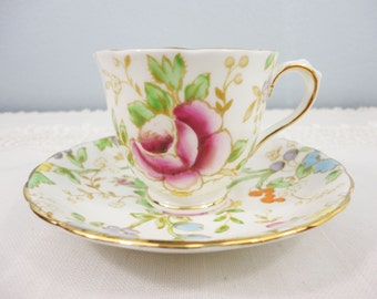 Tuscan Multi-Colored Floral Bone China Demitasse Cup and Saucer