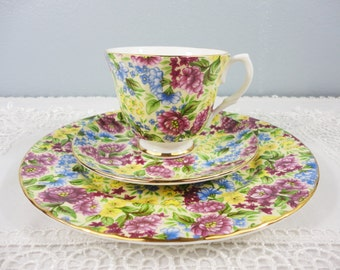 Bethany Chintz Staffordshire English Bone China Tea Trio - 1 Teacup, 1 Saucer, 1 Plate