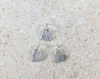 ADD-on Initial Sterling Silver Charm Initial Personalized Charm Initial Charm Personalized Jewelry Heart Initial Add On Heart initial Charm