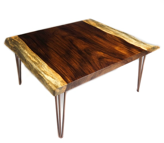 Coffee Table With Bronze Legs: Guanacaste Live Edge Coffee Table With Bronze Hairpin Legs
