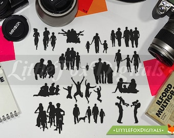 Happy Family People Funny Silhouette Clipart Set Digital Illustration Scrapbook