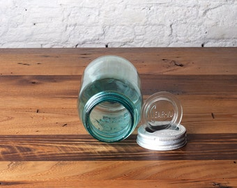 Vintage Clear-Vu Ball Perfect Mason Blue Jar Presto Lid Glass Farmhouse Storage Container