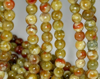 8mm Russian Serpentine Gemstone Grade AAA Green Red Round 8mm Loose Beads 15.5 inch Full Strand BULK LOT 1,2,6 and 12 (80000383-784)