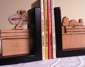 Wooden Snoopy bookends