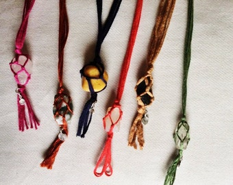 Macrame necklace, gemstone pendant, boho necklace, hippie necklace