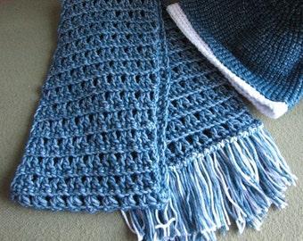 Women's Scarf and Hat Set Stonewashed Denim Cotton blend Winter accessory
