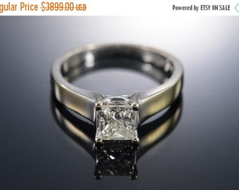 ON SALE 14K 0.83 Ct Princess Cut Vs2 Diamond Engagement Ring White Gold - Free Sizing